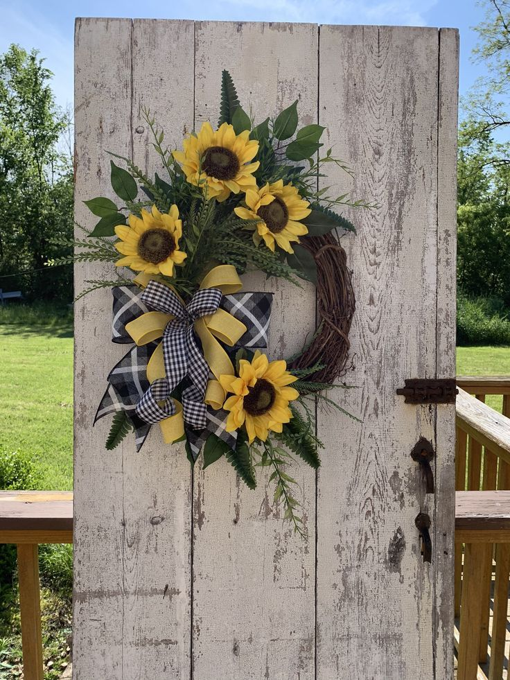 Bestseller Sunflower wreath, summer wreaths for the front door, year round wreath, ...