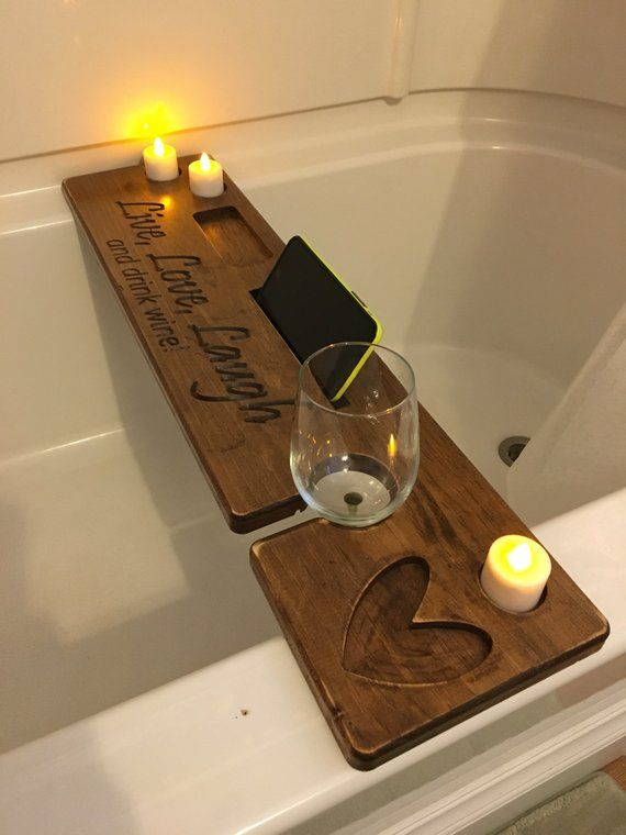 Premium Personalized Bath Tray with book rest candles phone | Etsy
