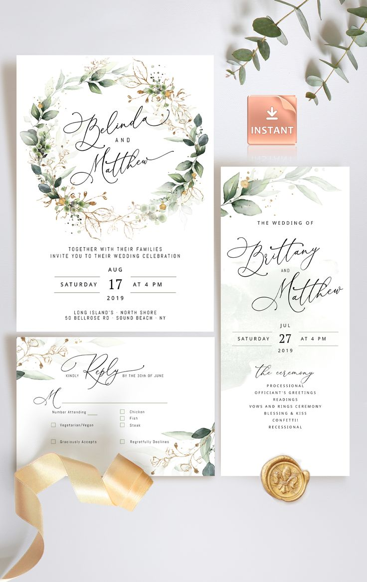 Gold Greenery Wedding Invitation Bundle, edit yourself, print at home and save money.