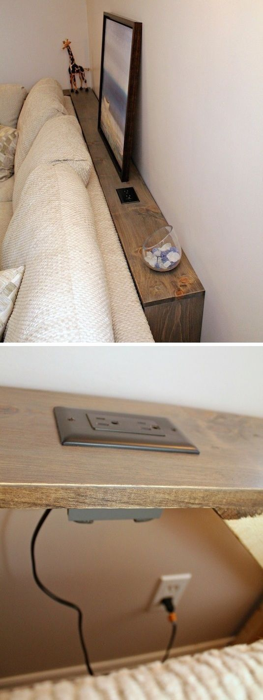 Small room idea for the living room! A thin table with integrated outlet ...