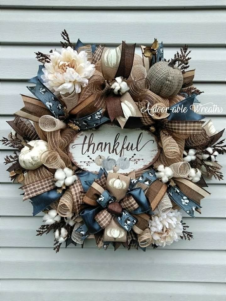 Thankful fall wreath smoke blue, browns and cream. Cotton bolls and pumokins