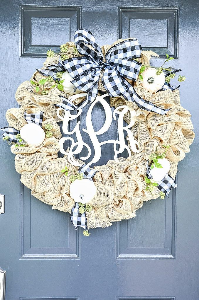 Beautiful burlap fall wreath. Step-by-step instructions. Make the burlap wreath ...