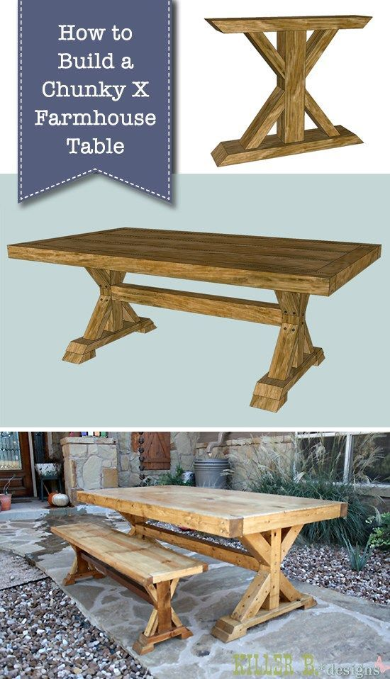 How to Build a Chunky X Farmhouse Table | DIY farmhouse table | woodworking proj...