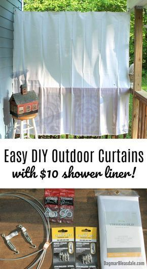 The EASIEST and cheapest way to hang DIY outdoor curtains, DIY porch curtains, D...