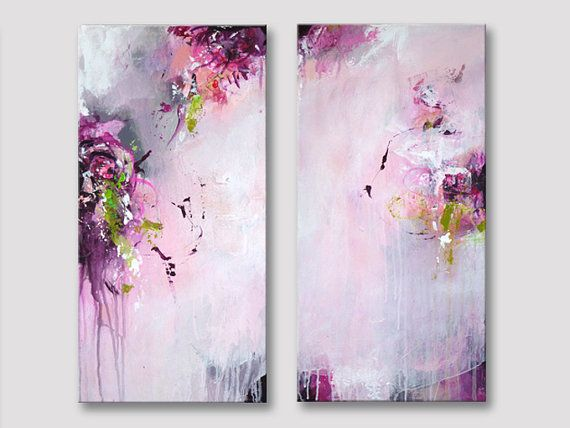 2 Pieces Original Abstract Painting Acrylic Paintings by ARTbyKirsten