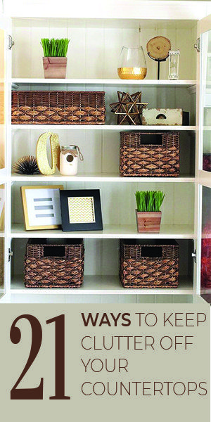21 Ways to keep clutter off your countertops.  #organizinghacks #diy #organizing...