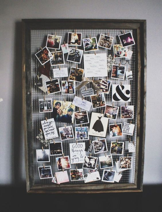 30+ photo walls and photo collages Ideas - photo wall with fairy lights