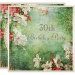 30th Birthday Party Shabby Chic Hibiscus Flowers Invitation #Ad  , #SPONSORED, #...