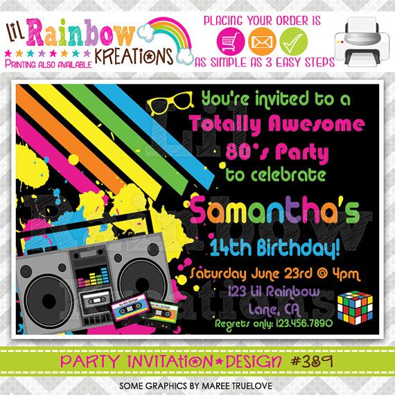 389 DIY  Totally Awesome 80's Party Invitation by LilRbwKreations, $11.00