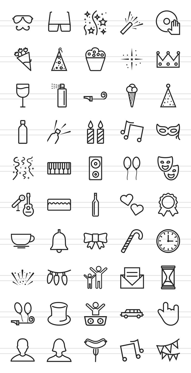 50 Party Line Icons by IconBunny on Creative Market