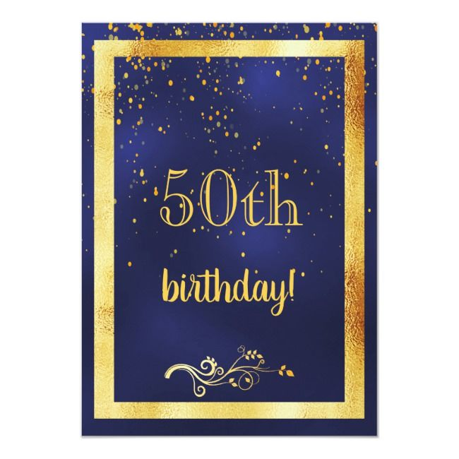 50th birthday party gold frame blue invitation #Ad  , #AD, #gold#frame#blue#part...