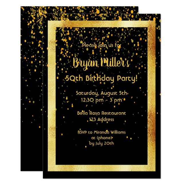 50th birthday party on black with faux gold frame invitation #Ad  , #affiliate, ...
