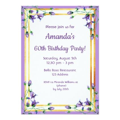 #60th birthday party invitation card bluebells gold - #birthday #invitations
