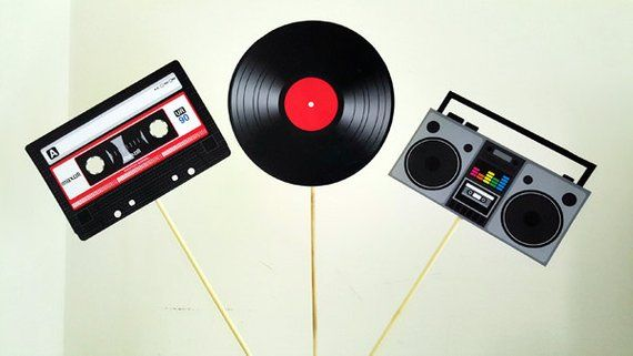 80's Party Centerpieces, Cassette Tape Centerpiece, Record Centerpiece, Boom...