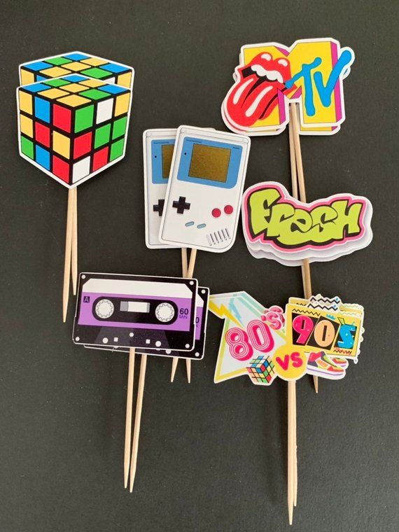80's vs 90's Cupcake Toppers | Old School Cupcake Toppers | Skate Party