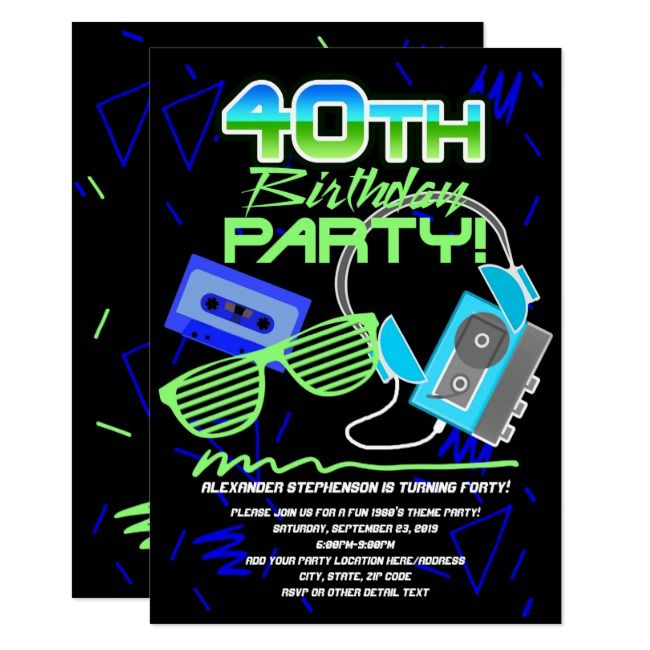 80s Retro 40th Birthday Party Invitation #Ad , #spon, #Birthday#Party#Invitation...