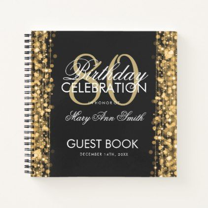 #80th Birthday Guestbook Party Sparkles Gold Notebook - #gold #glitter #gifts