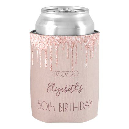 80th birthday party rose gold pink glitter 80 glam can cooler - glamour gifts di...