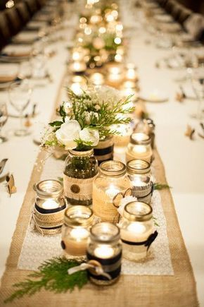 Wedding table decoration ideas - candlelight in preserving jars