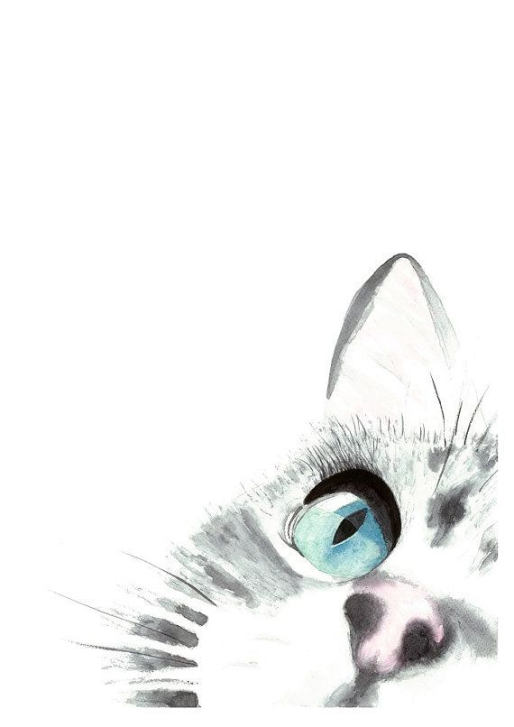 A Cats Focus Original Watercolor Painting Art Print, Cat Art, Home Decor