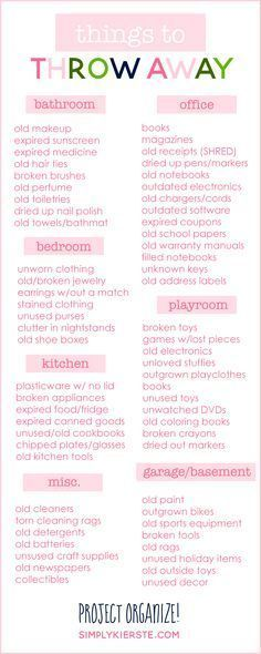 A great room-by-room list of things to throw away to help your home feel clean a...
