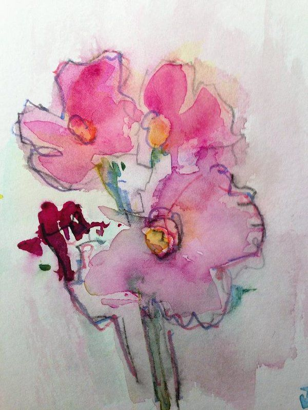 Abstract Painting Art Print featuring the painting Pink Flower Party by Britta Z...