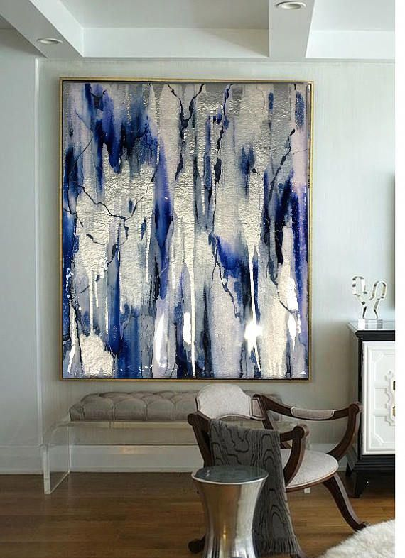 Acrylic Abstract Art, Abstract Painting, Resin Painting, Blue Painting, Silver P...