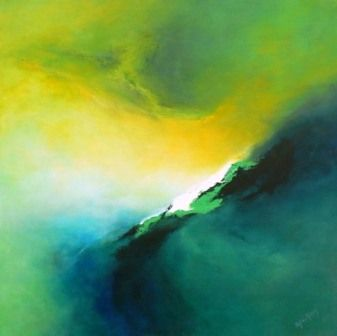 "Acrylic Painting Abstract, Green, Title ""Letting Go"" by Mesch"