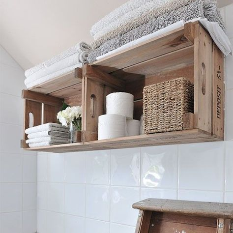 Bathroom Ideas - Shelf from wooden boxes build