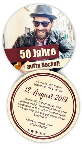 Beermat with photo as birthday invitation - it does not matter if it's 50th birthday or 25th ...