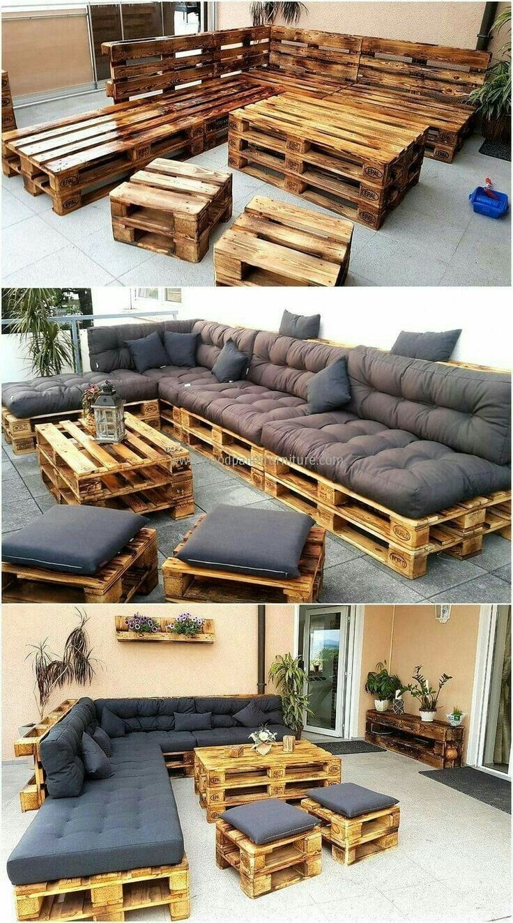 Bench and stool made of europallets #Terasse #Balcony #Garten # Furniture #Europaletten