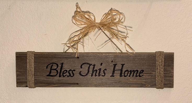 Bless This Home Sign, Rustic Farmhouse Sign, Aged Pallet Wood, Rope Hanger, Stra...