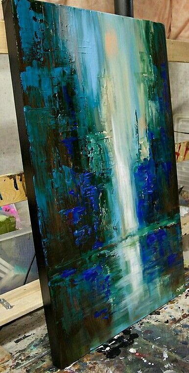 Blue green acrylic abstract waterfall painting palette knife