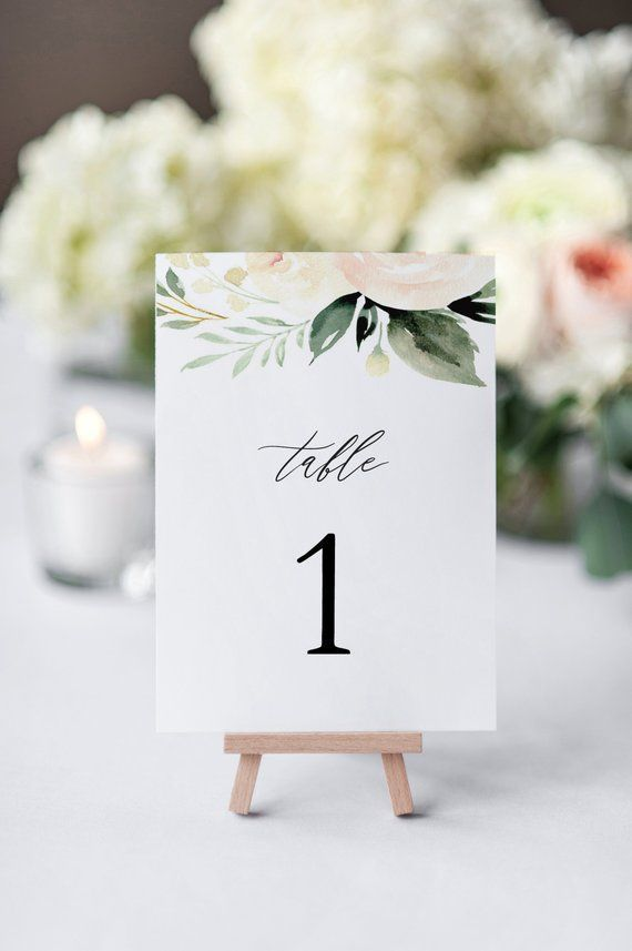 Blush Wedding Table Numbers Printable Table Numbers Template DIY Editable DIY
