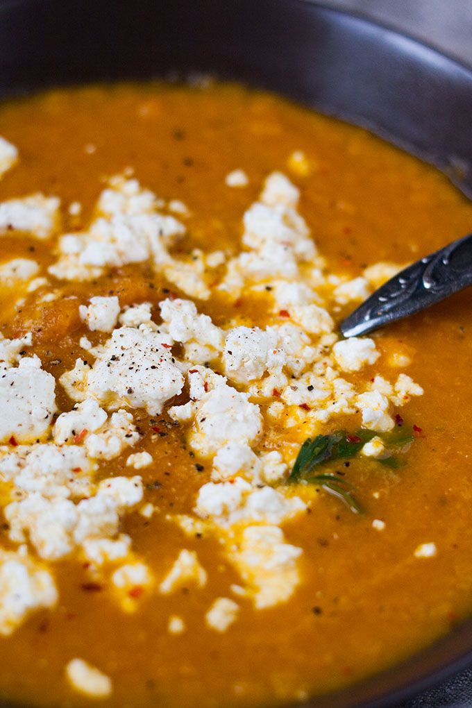 Carrot soup with feta. SUPER delicious and only 6 ingredients. Definitely try - Ko ...