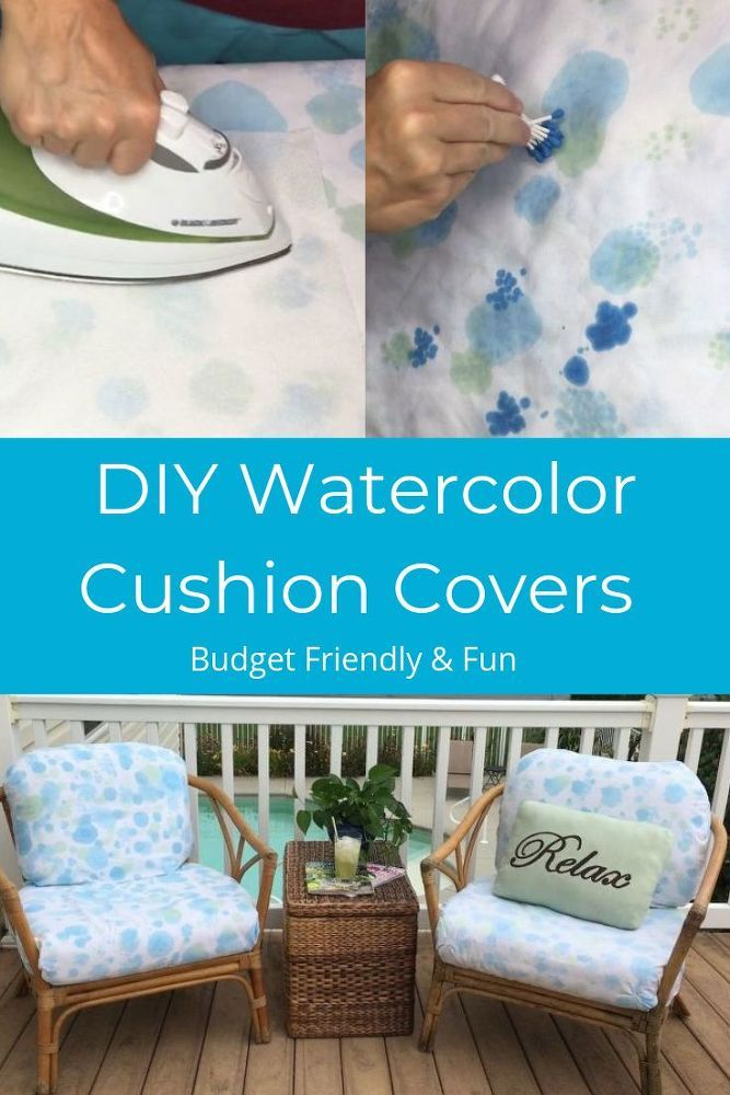 Chair cushion covers can be expensive. Use this tutorial to permanently watercol...