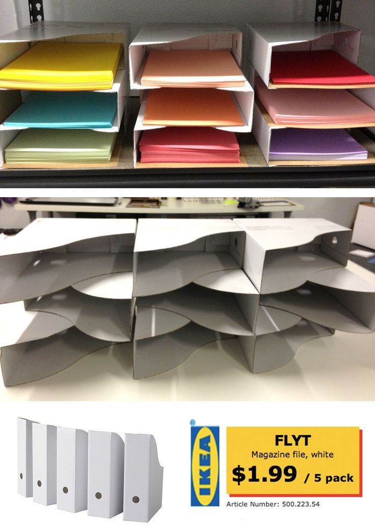 (Cheap!) DIY Paper Sorter from stacked IKEA Magazine files. Just tape together w...