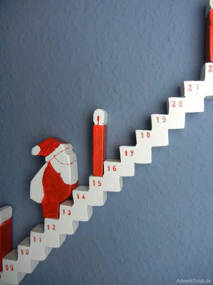 Close up of a wooden advent calendar for DIY