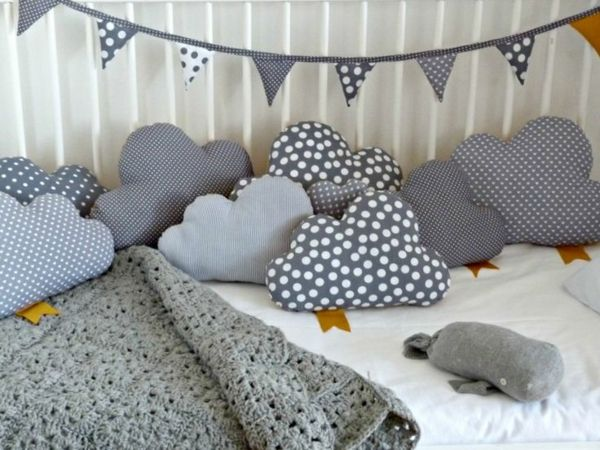 Clouds make decoration for the nursery itself *** DIY kids room decoration with c ...