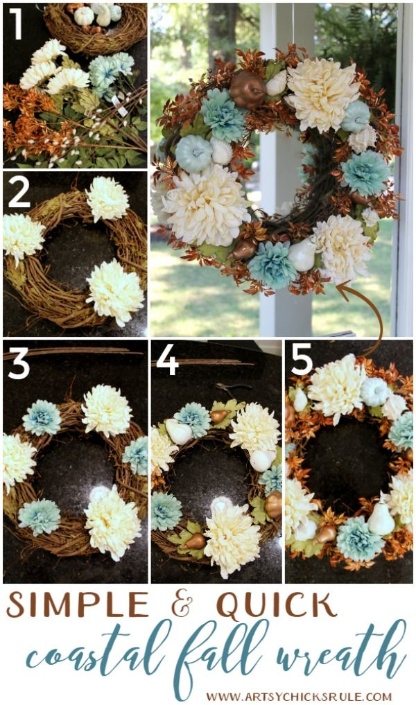 Coastal Fall Wreath - Simple & Quick - artsychicksrule.com #fallwreath…
