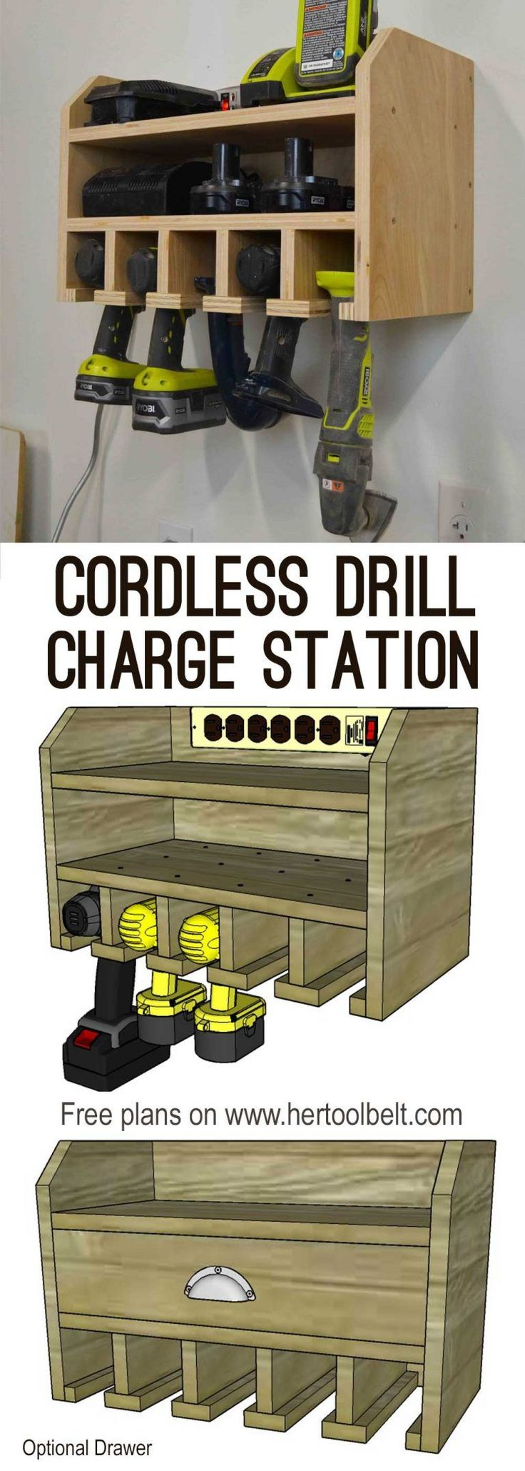 Cordless Drill Storage - Charging Station Organize your tools, free plans for a ...
