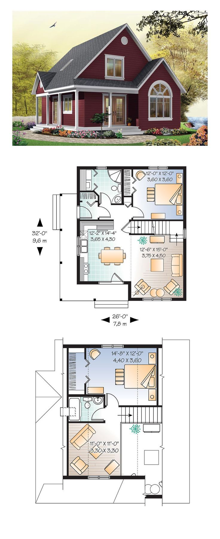 Country Style COOL House Plan ID: chp-28554 | Total living space: 1226 square meters, 2 bedrooms ...