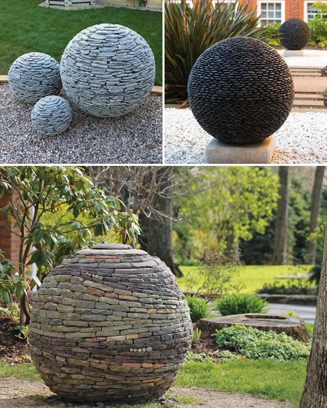 Create garden balls made of hundreds of slate or boulders, which are ...