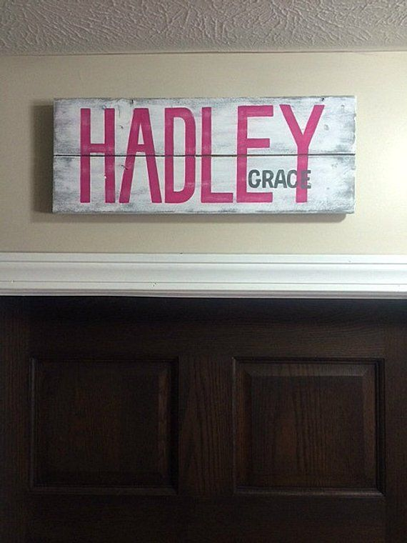 Custom Nursery Baby Name sign. Personalized name sign. Over the door sign.First ...