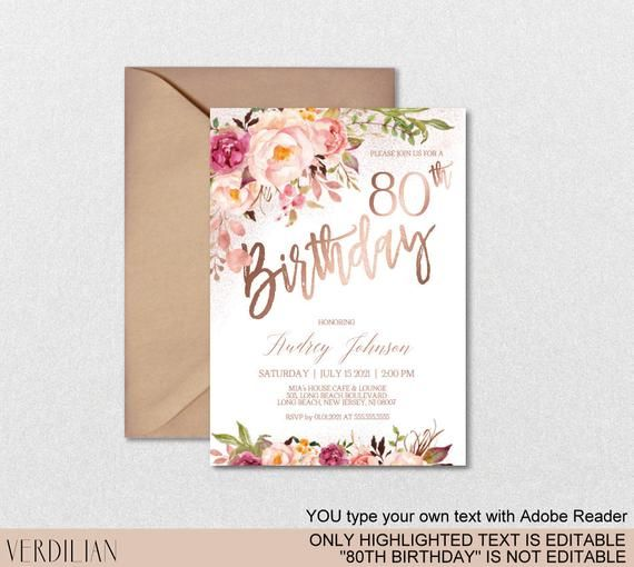 DIY 80th Birthday Invitation Template, Blush Rose Gold Floral Birthday Party Inv...