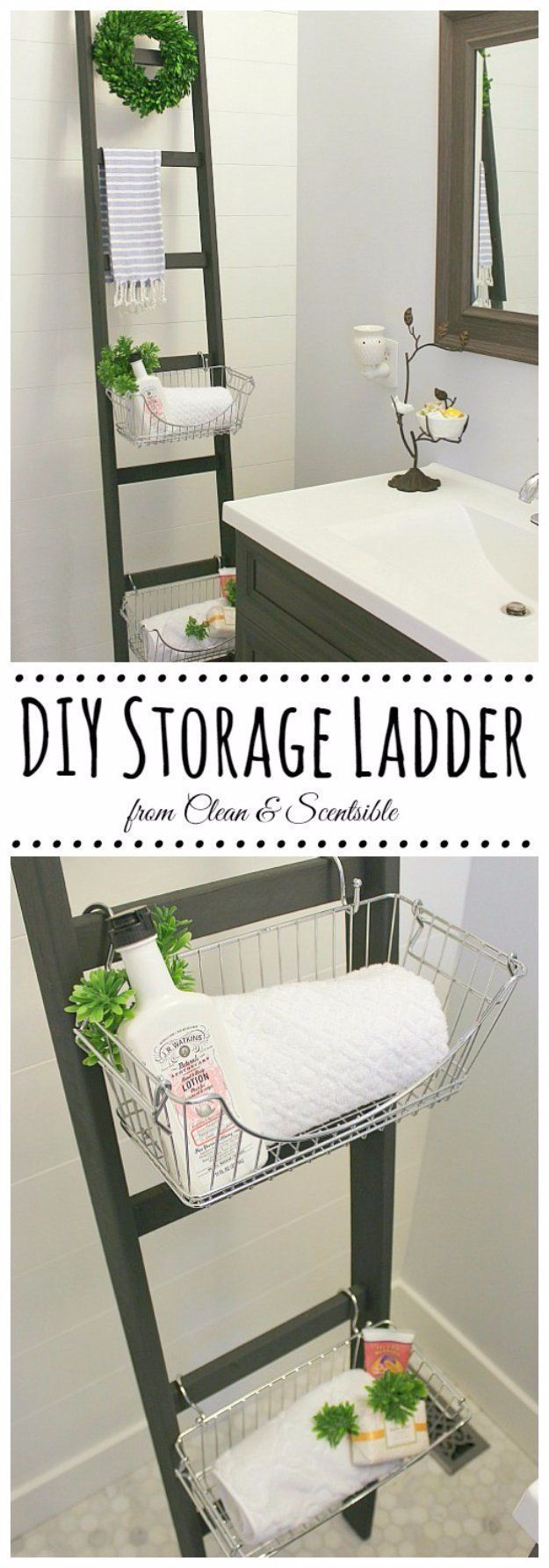 DIY Badezimmer Dekor Ideen - DIY Bad Speicherleiter - Cool Do It Yourself  #bade...