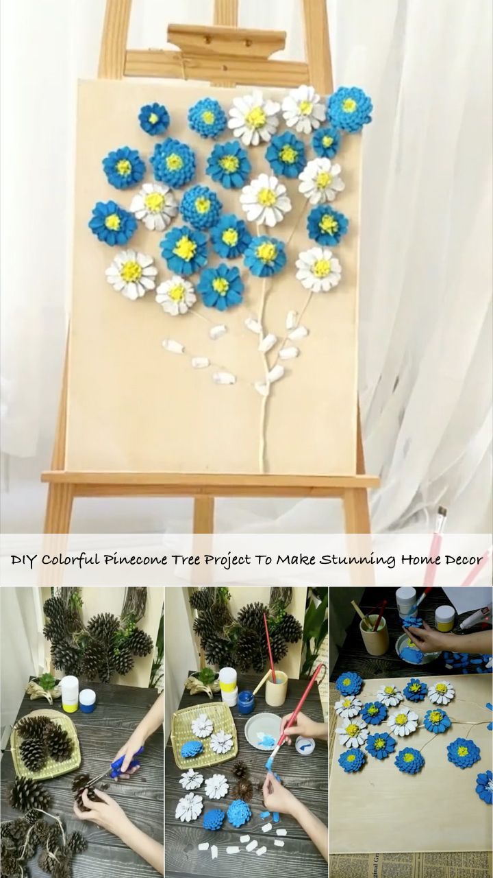 DIY Colorful Pinecone Tree Project To Make Stunning Home Decor