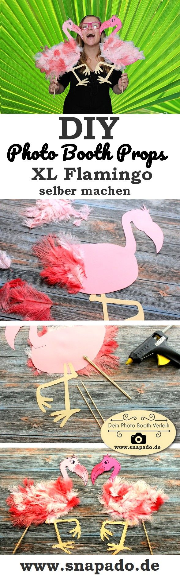 DIY Flamingo Photo Booth Prop to make yourself - from feathers, wooden sticks and ...
