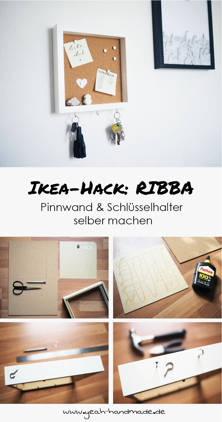 DIY Ikea Hack: pin board and key holder from the Ikea picture frame RIBBA sel ...