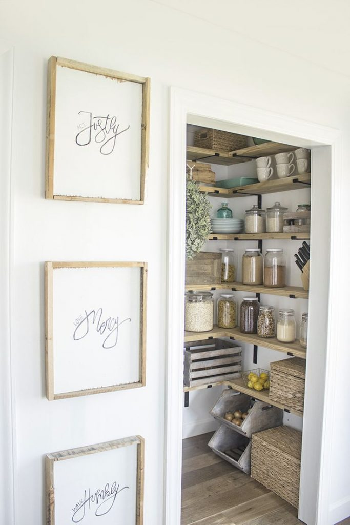 DIY Organized Walk In Modern Farmhouse Butler's Pantry Makeover With Floating Shelves - Using...